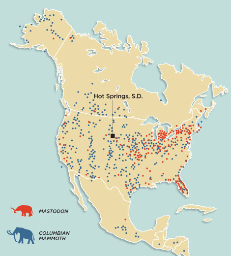 Mammoths-North-America-map