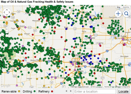 Fracked Wells in Oklahoma (most of)