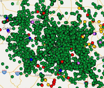 Map of Roswell-Sonora TX Fracked wells