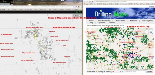 Oklahoma Fracking & Quake Maps Comparison